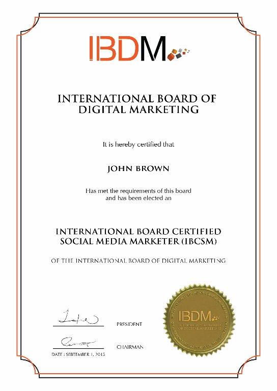 IBDM Certificate